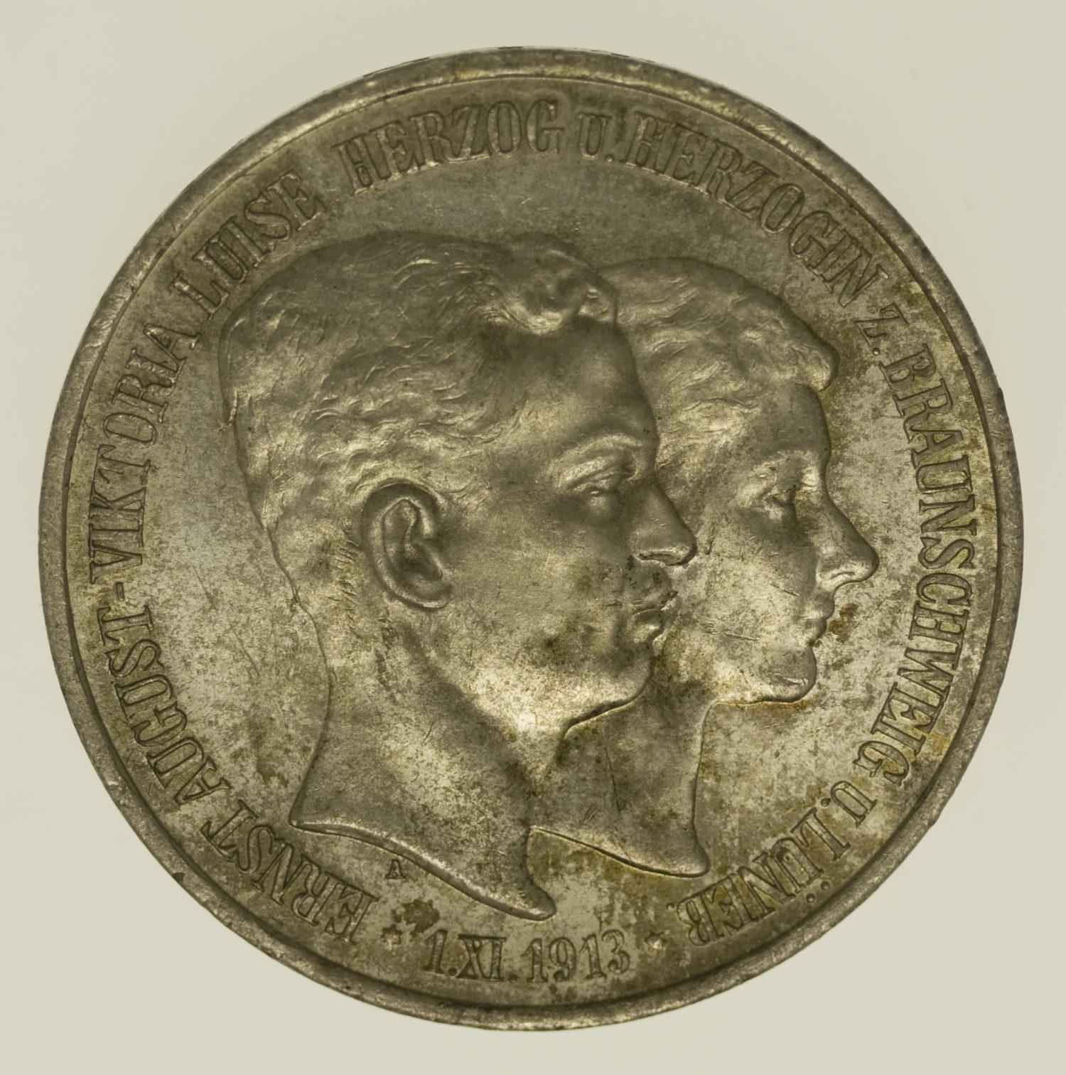 deutsches-kaiserreich-ab-1871-deutsche-silbermuenzen - Braunschweig Lüneburg Ernst August 3 Mark 1915