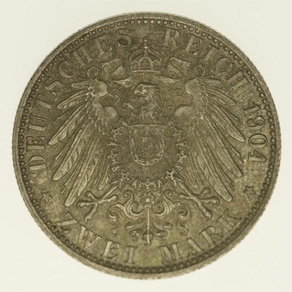 deutsches-kaiserreich-ab-1871-deutsche-silbermuenzen - Bremen Stadtwappen 2 Mark 1904