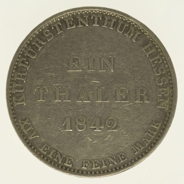 altdeutschland-deutsche-silbermuenzen - Hessen Kassel Wilhelm II. und Friedrich Wilhelm Taler 1842