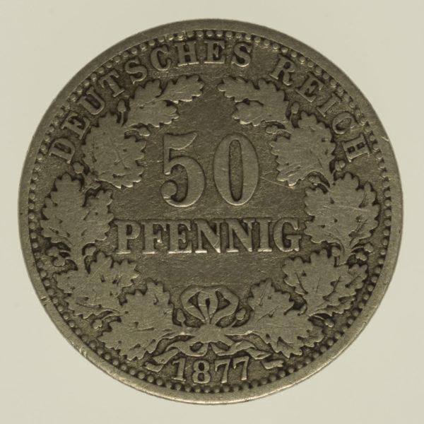 deutsches-kaiserreich-ab-1871-deutsche-silbermuenzen - 50 Pfennig 1877 A
