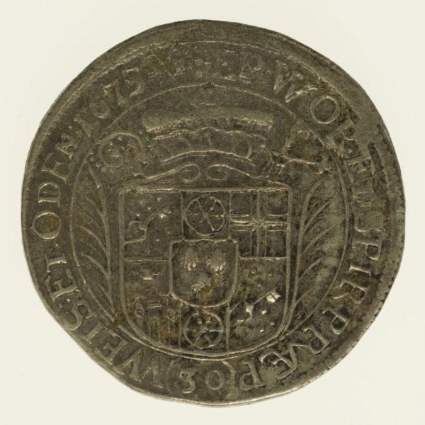 altdeutschland-deutsche-silbermuenzen - Mainz Lothar Friedrich von Metternich Burscheid 30 Kreuzer 1675