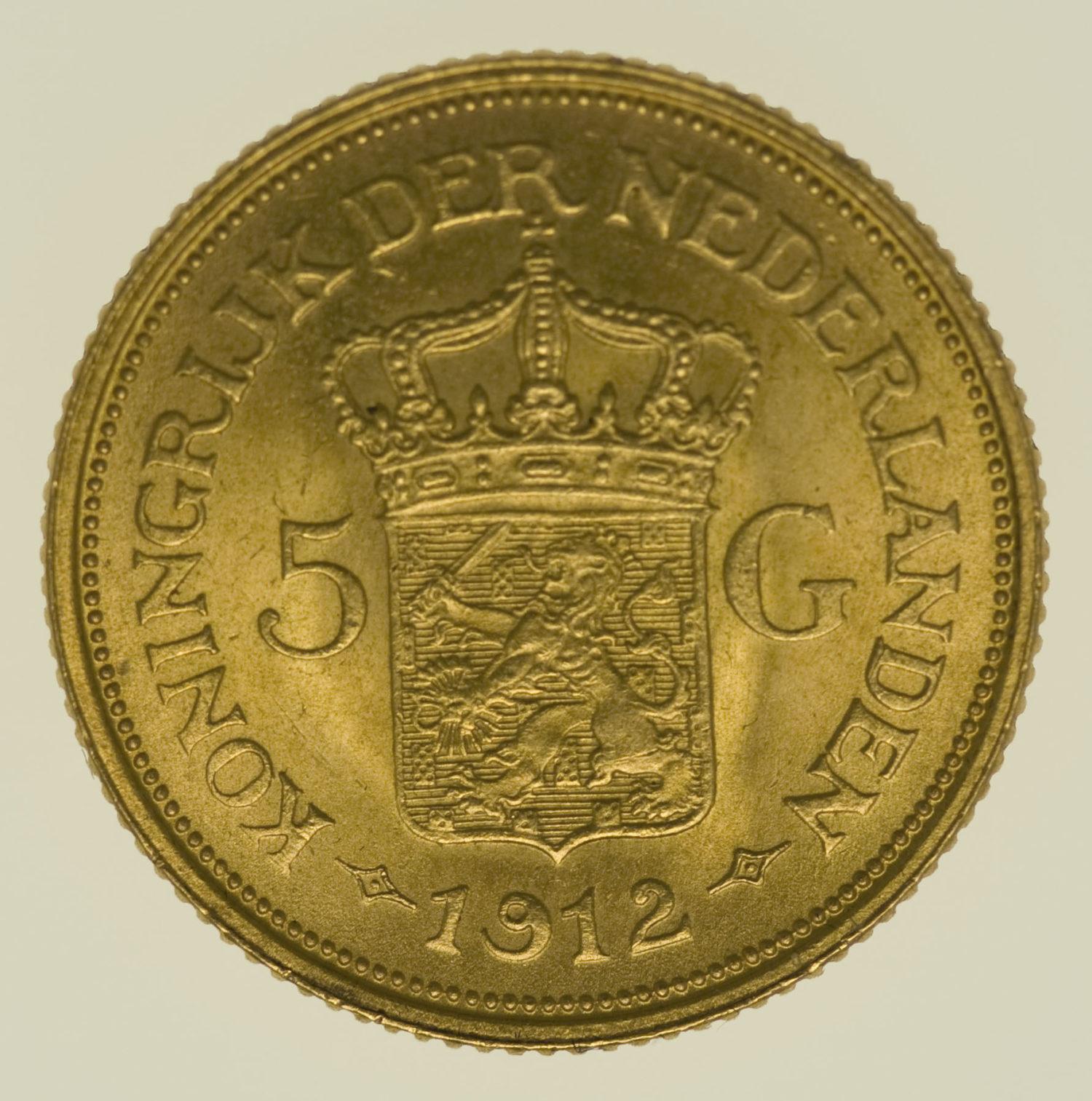 niederlande - Niederlande Wilhelmina 5 Gulden 1912