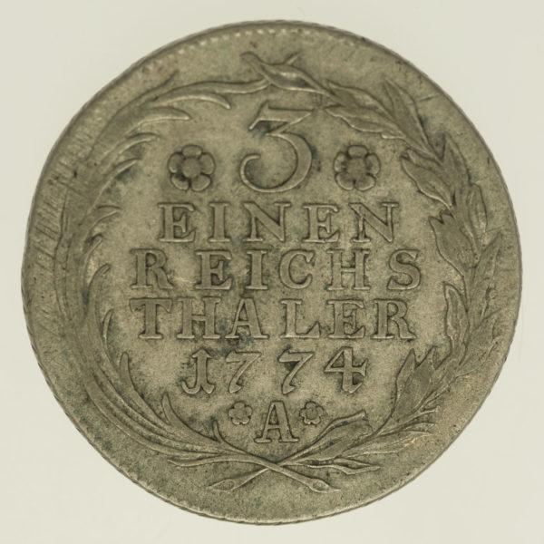 altdeutschland-deutsche-silbermuenzen - Preussen Friedrich II. 1/3 Taler 1774