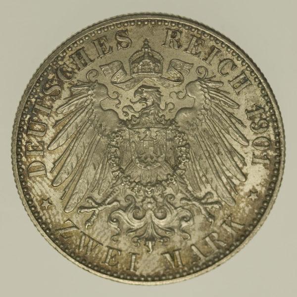 deutsches-kaiserreich-ab-1871-deutsche-silbermuenzen - Preussen Wilhelm II. 2 Mark 1901