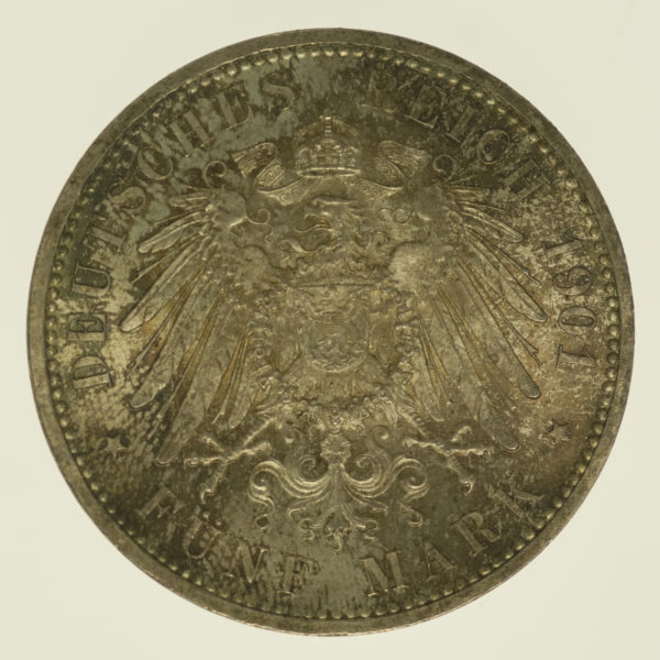 deutsches-kaiserreich-ab-1871-deutsche-silbermuenzen - Preussen Wilhelm II. 5 Mark 1901