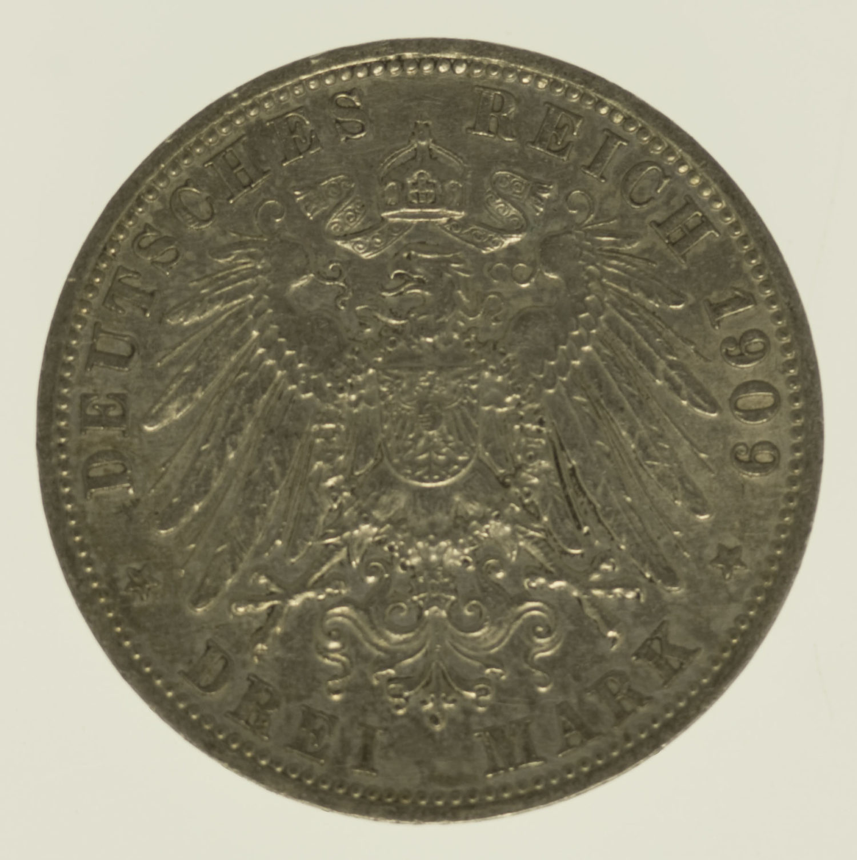 deutsches-kaiserreich-ab-1871-deutsche-silbermuenzen - Schwarzburg Sondershausen Karl Günther 3 Mark 1909