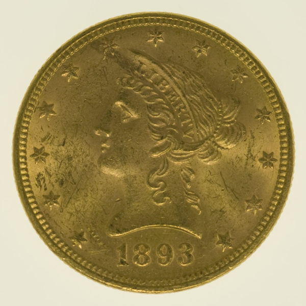 usa - USA 10 Dollars 1893 Liberty / Kopf
