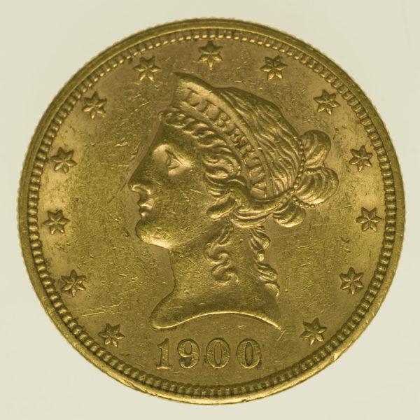 usa - USA 10 Dollars 1900 Liberty / Kopf