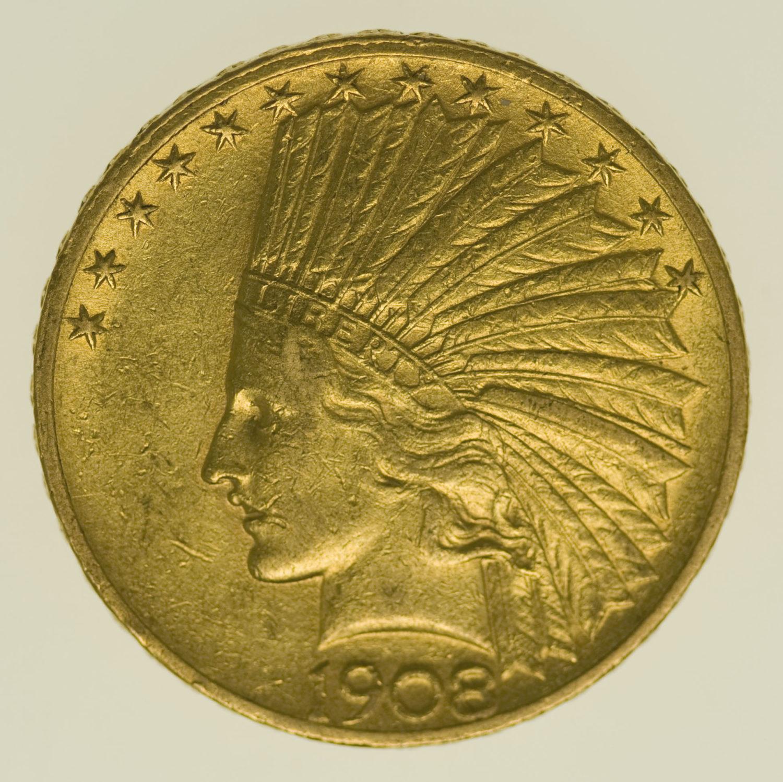 usa - USA 10 Dollars 1908 Indianer
