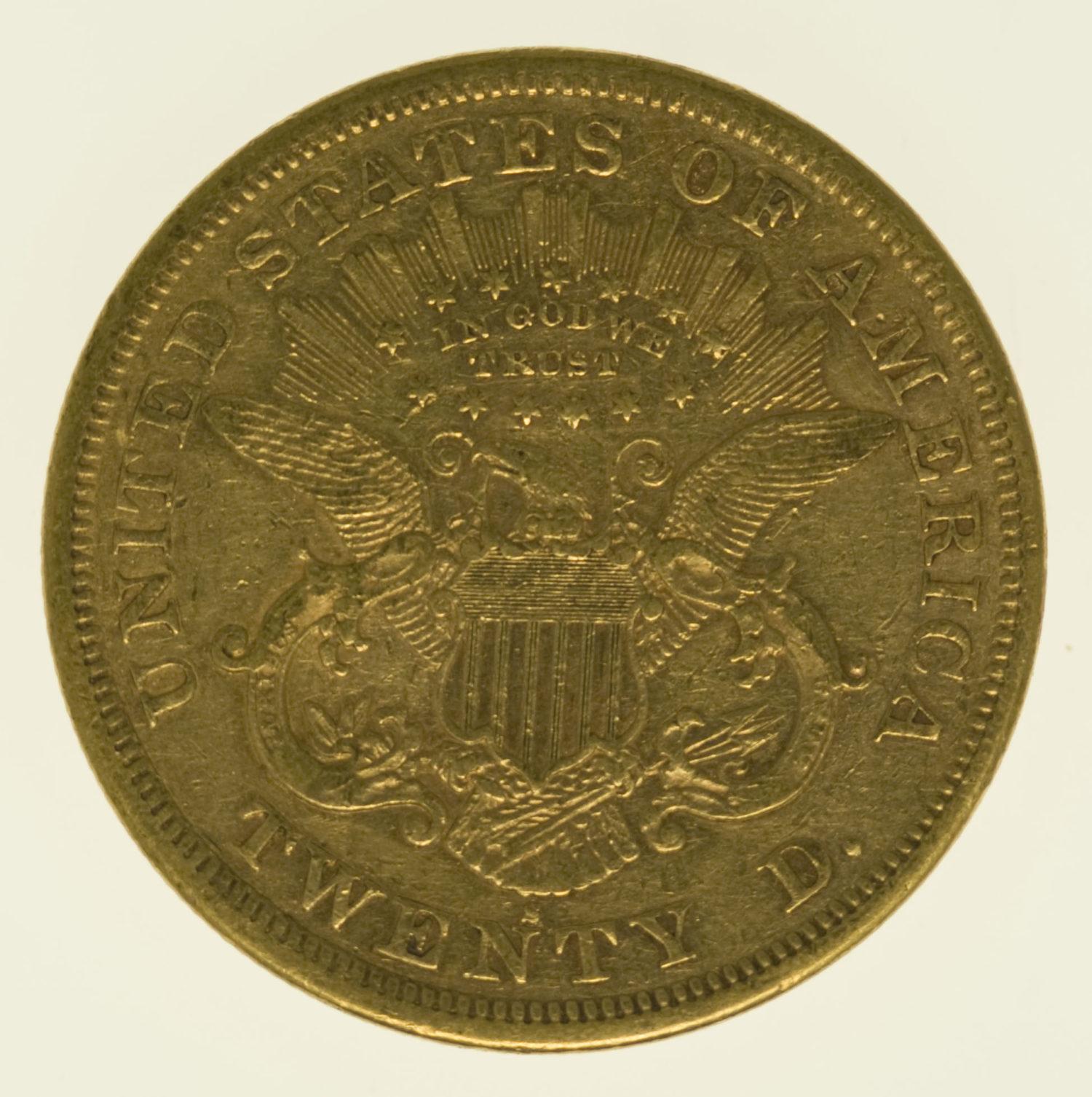 usa - USA 20 Dollars 1870 S Liberty / Kopf