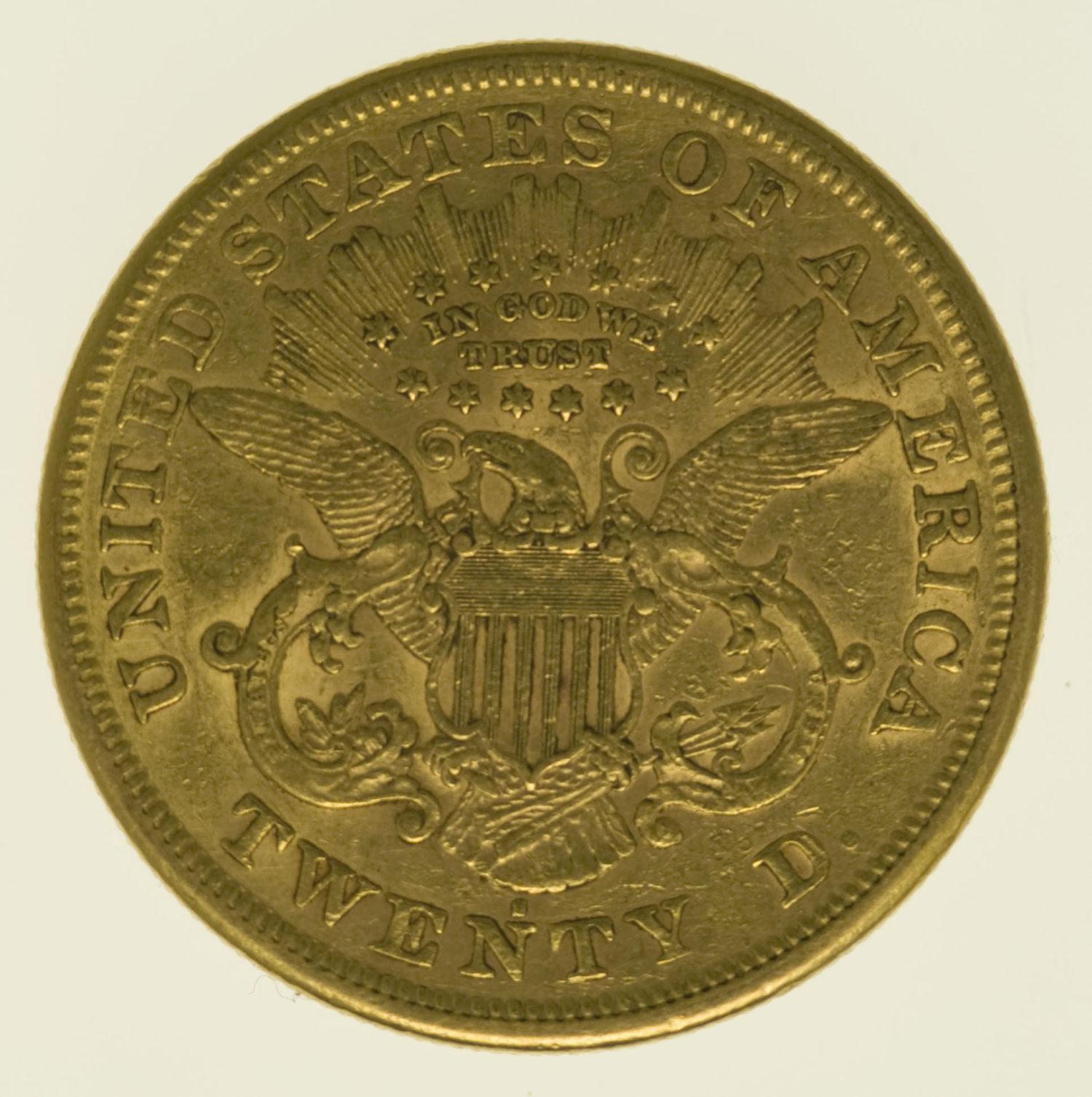 usa - USA 20 Dollars 1871 S Liberty / Kopf