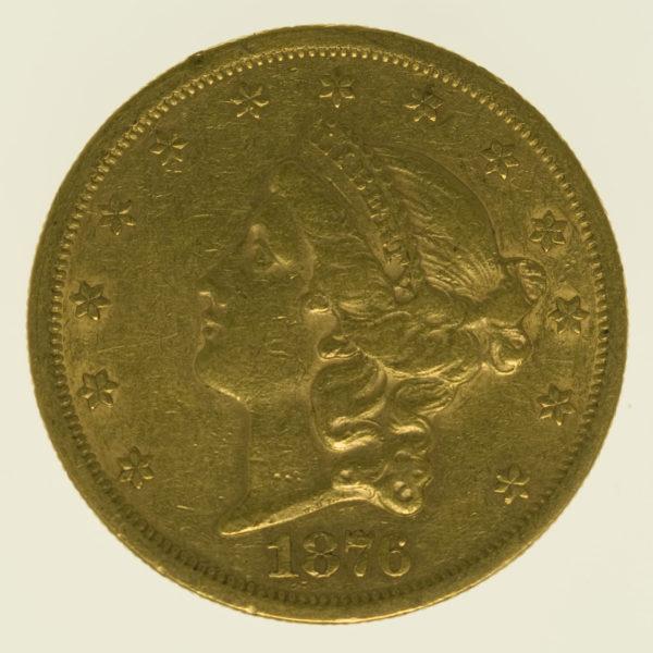 usa - USA 20 Dollars 1876 S Liberty / Kopf