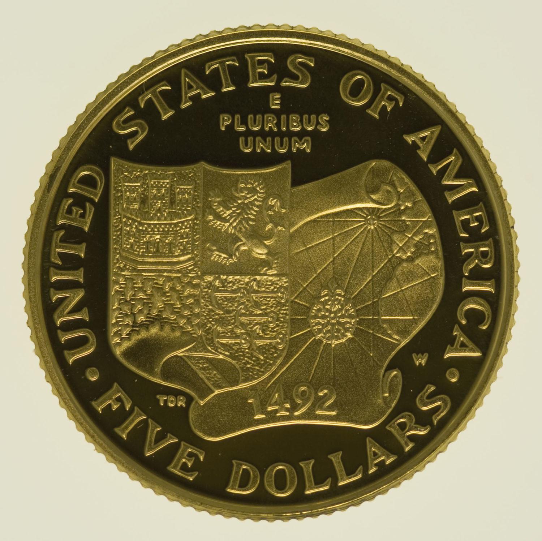 usa - USA 5 Dollars 1992 Columbus