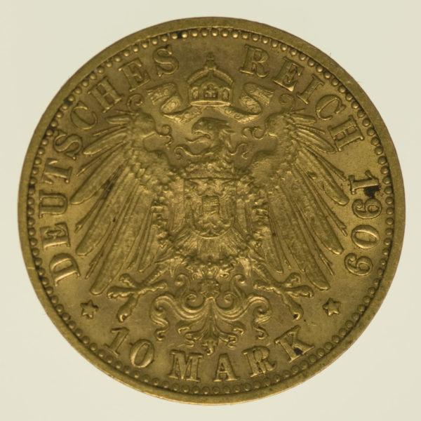 deutsches-kaiserreich-ab-1871 - Württemberg Wilhelm II. 10 Mark 1909