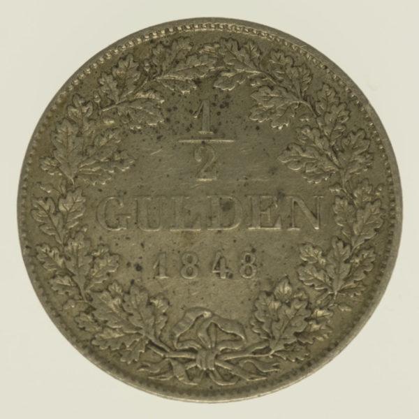 altdeutschland-deutsche-silbermuenzen - Württemberg Wilhelm I. 1/2 Gulden 1848