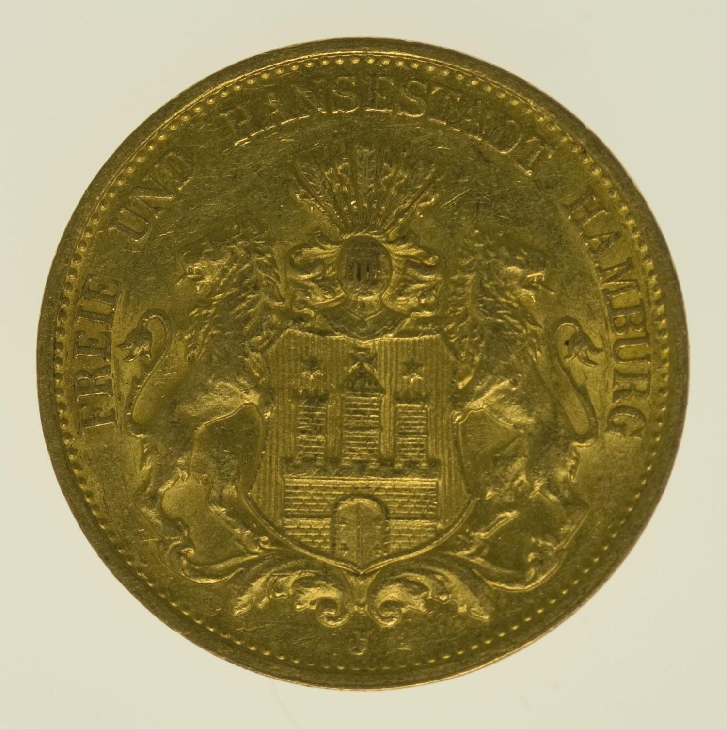 deutsches-kaiserreich-ab-1871 - Hamburg Stadtwappen 20 Mark 1887