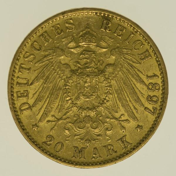 deutsches-kaiserreich-ab-1871 - Hamburg Stadtwappen 20 Mark 1897