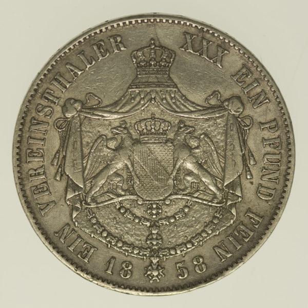 altdeutschland-deutsche-silbermuenzen - Baden Friedrich Vereinstaler 1858
