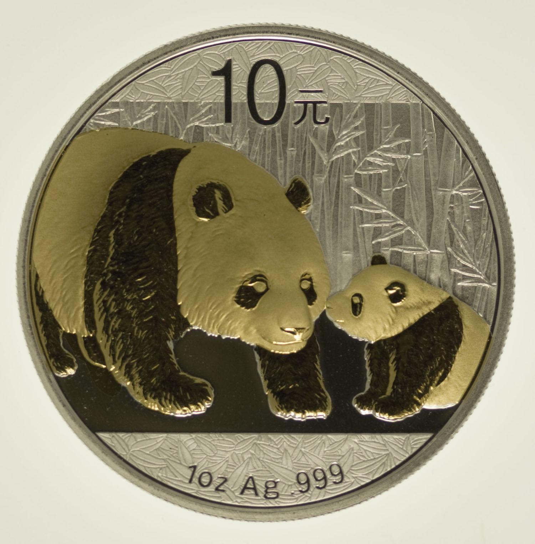 china-silbermuenzen-uebrige-welt - China Panda 1 Unze 2011 gilded