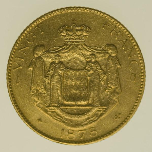 monaco - Monaco Charles III. 20 Francs 1878
