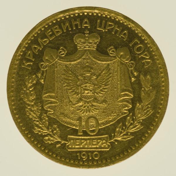 montenegro - Montenegro Nikolaus I. 10 Perpera 1910