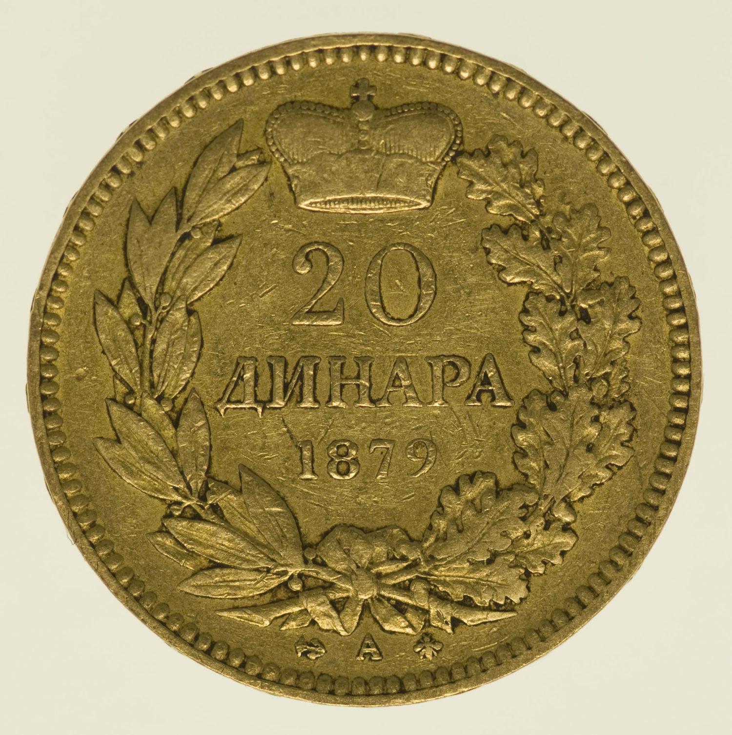 serbien - Serbien Milan I. 20 Dinara 1879