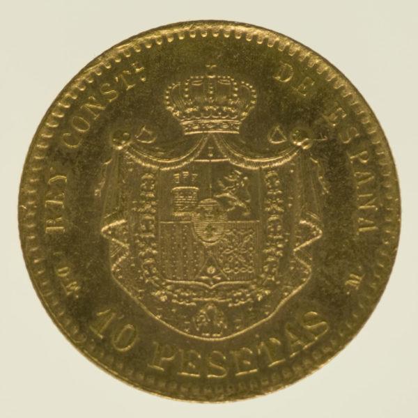 spanien - Spanien Alfonso XII. 10 Pesetas 1878 / 19-62