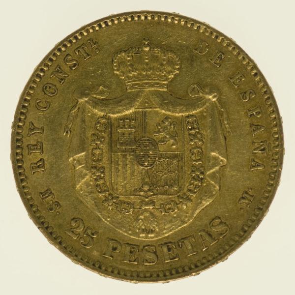 spanien - Spanien Alfonso XII. 25 Pesetas 1881 / 18-81