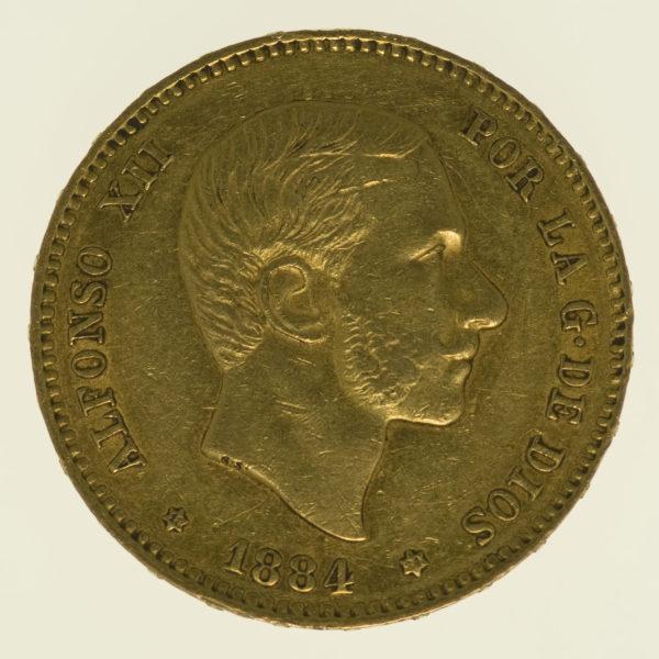 spanien - Spanien Alfonso XII. 25 Pesetas 1884 / 18-84