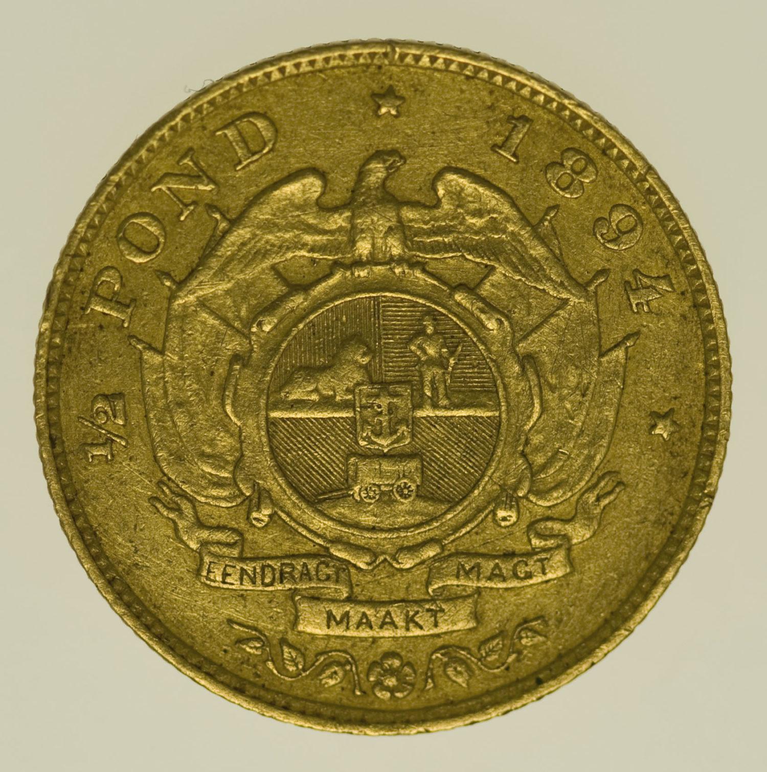 suedafrika - Südafrika 1/2 Pond 1894