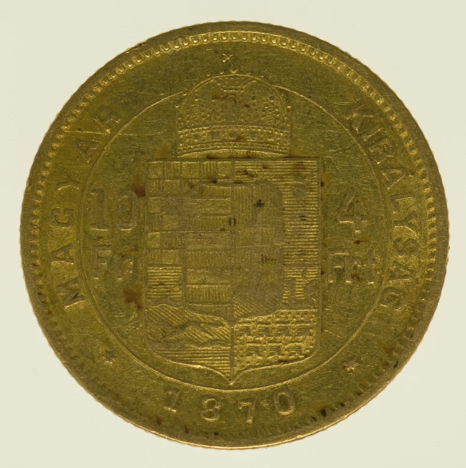 ungarn, oesterreich - Österreich Kaiserreich Franz Joseph I. 4 Forint 1870