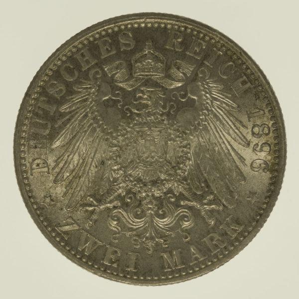 deutsches-kaiserreich-ab-1871-deutsche-silbermuenzen - Bayern Otto 2 Mark 1896