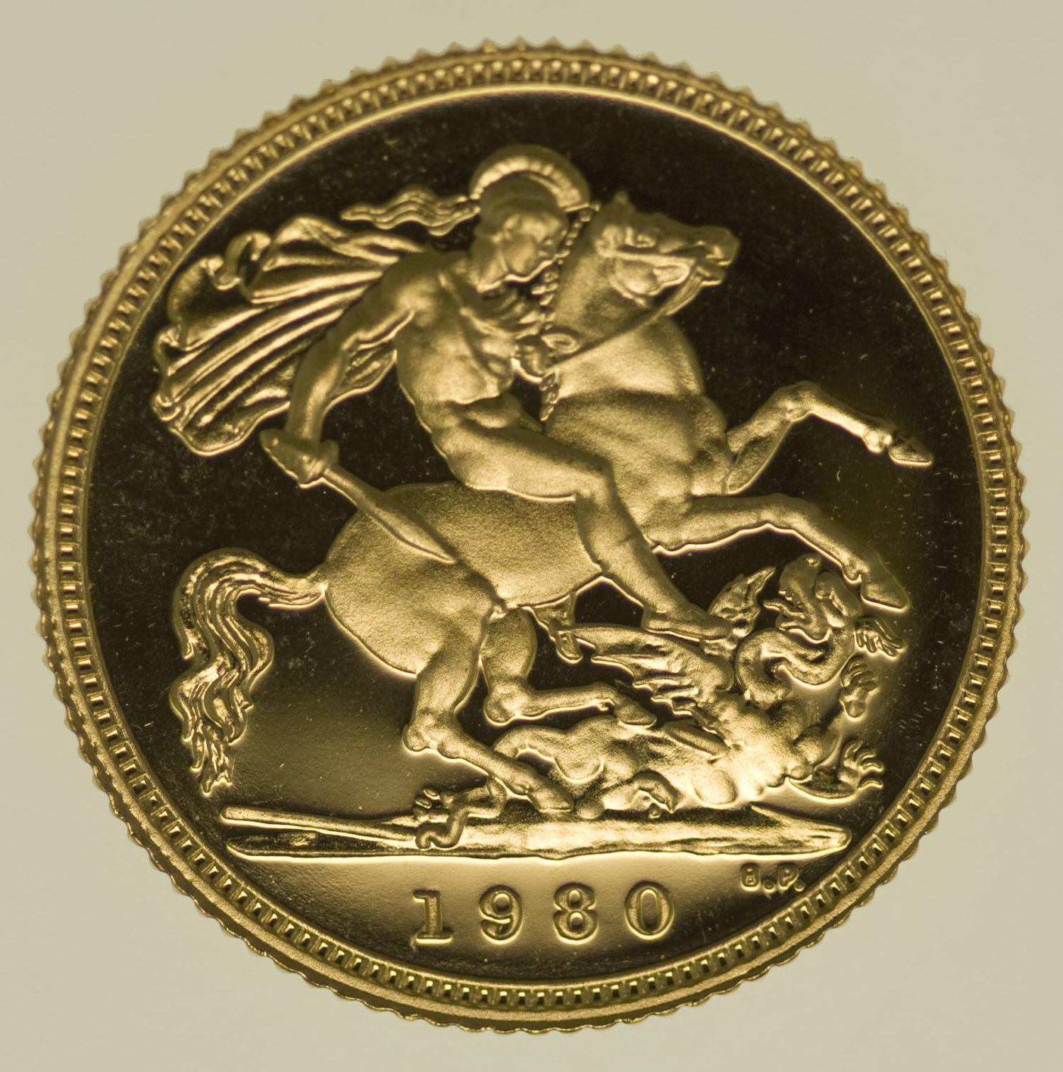 grossbritannien - Großbritannien Elisabeth II. Half Sovereign 1980