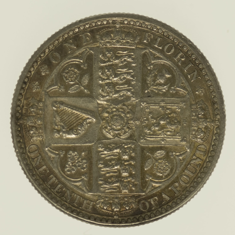 grossbritannien-silbermuenzen-uebriges-europa - Großbritannien Victoria Florin 1849
