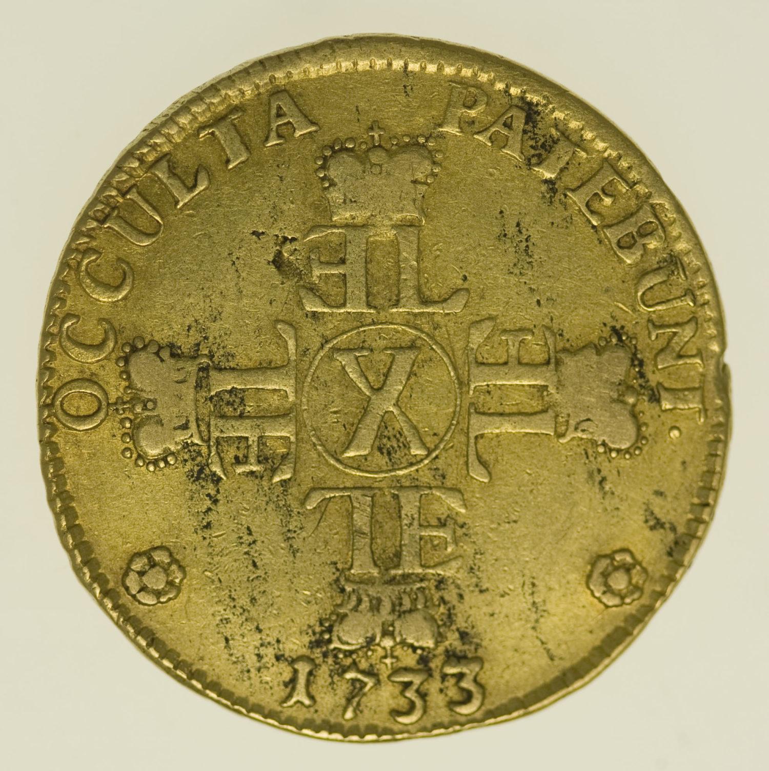 altdeutschland - Hessen Darmstadt Ernst Ludwig 10 Gulden (Karolin) 1733