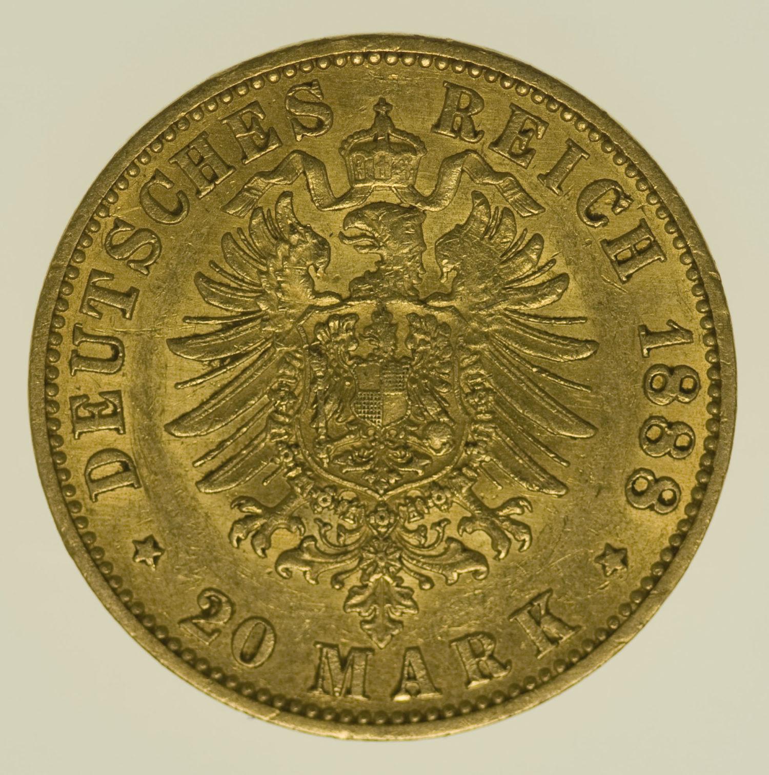 deutsches-kaiserreich-ab-1871 - Preussen Wilhelm II.20 Mark1888 A