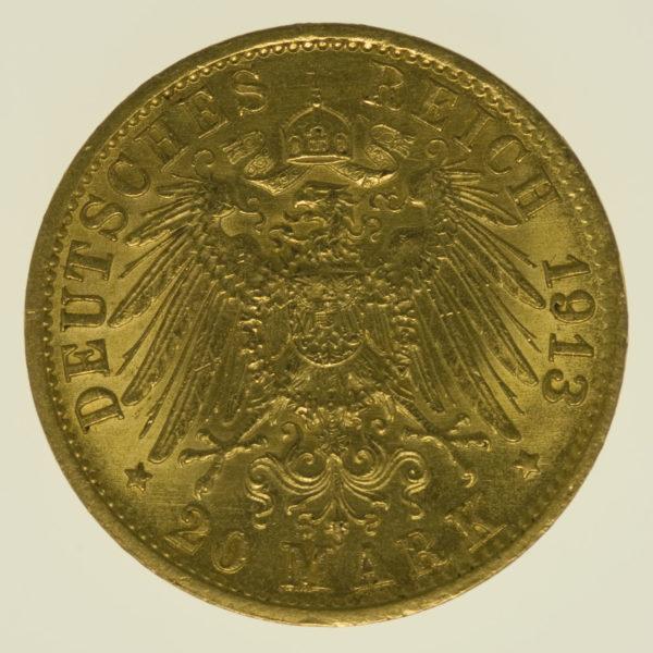 deutsches-kaiserreich-ab-1871 - Preussen Wilhelm II.20 Mark1913 A