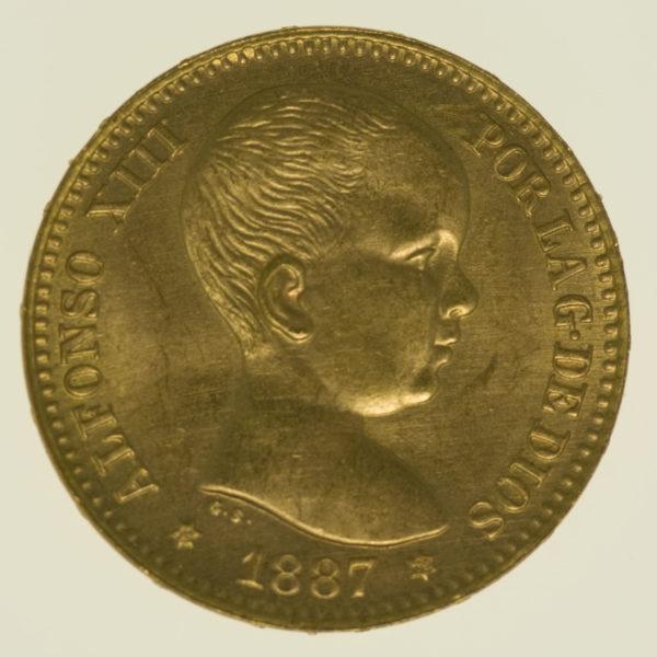 spanien - Spanien Alfonso XIII. 20 Pesetas 1887 / 19-62 NP