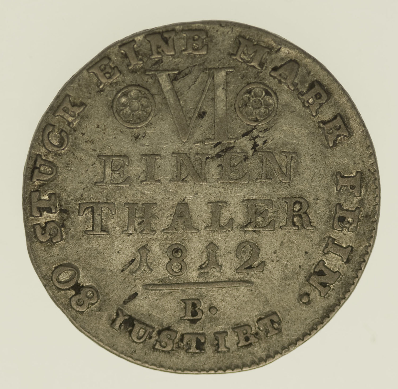 altdeutschland-deutsche-silbermuenzen - Westfalen Hieronymus Napoleon 1/6 Taler 1812