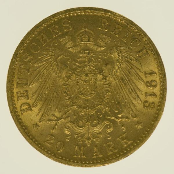 deutsches-kaiserreich-ab-1871 - Baden Friedrich II. 20 Mark 1913