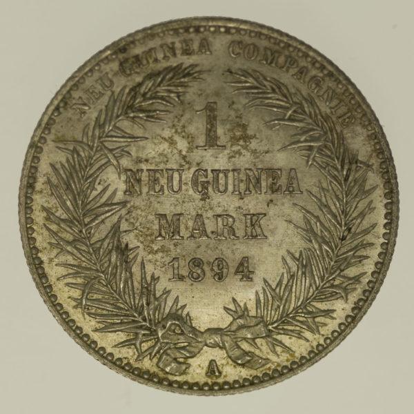 deutsche-kolonien-deutsche-silbermuenzen - Deutsch Neu Guinea Wilhelm II. 1 Mark 1894