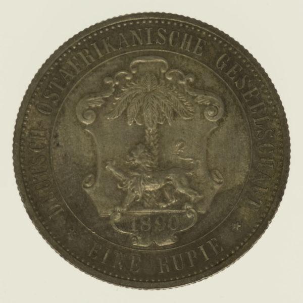 deutsche-kolonien-deutsche-silbermuenzen - Deutsch Ostafrika Wilhelm II. Rupie 1890