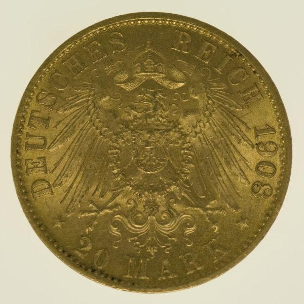 deutsches-kaiserreich-ab-1871 - Hessen Ernst Ludwig 20 Mark 1908