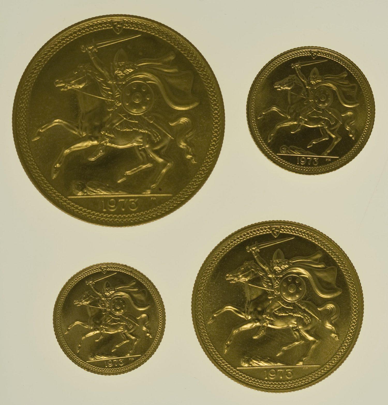 isle-of-man - Isle of Man Elisabeth II. 4 Coin Set 1973