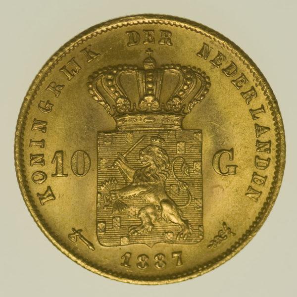 niederlande - Niederlande Wilhelm III. 10 Gulden 1887
