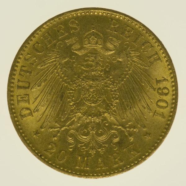 deutsches-kaiserreich-ab-1871 - Preussen Wilhelm II.20 Mark1901 A