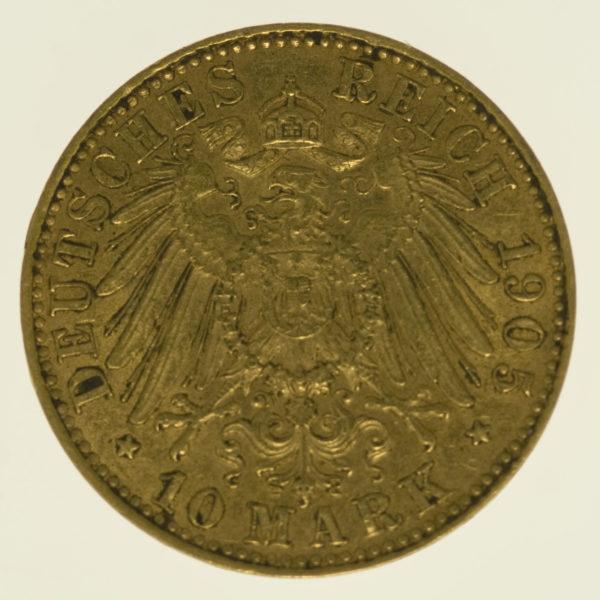 deutsches-kaiserreich-ab-1871 - Sachsen Friedrich August 10 Mark 1905