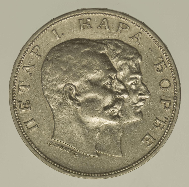 serbien-silbermuenzen-uebriges-europa - Serbien Peter I. 5 Dinara 1904