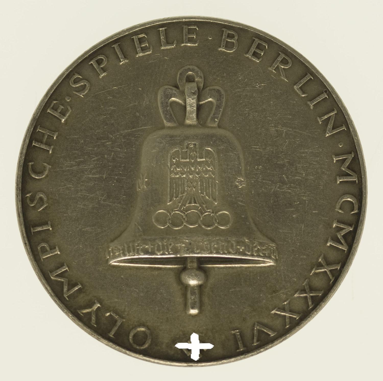drittes-reich-deutsche-silbermuenzen - Silbermedaille 1936 Olympische Spiele Berlin