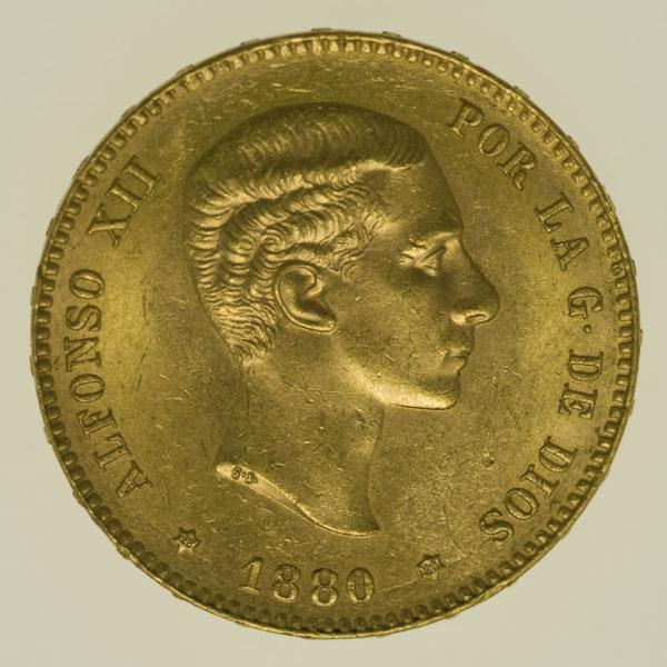 spanien - Spanien Alfonso XII. 25 Pesetas 1880 / 18-80